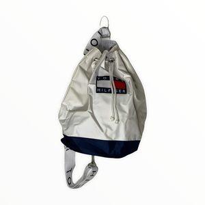 Vintage Tommy Hilfiger Ceossbody Back Pack White Blue Tommy Logo